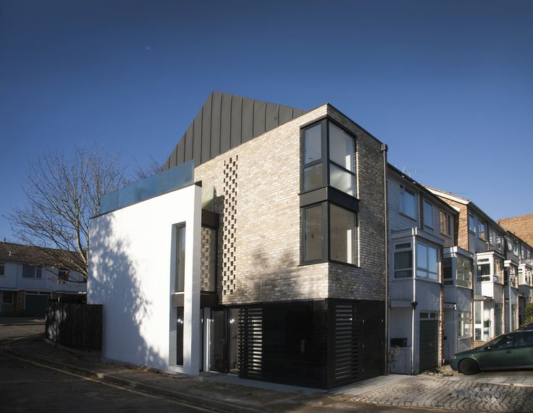 Modern Contemporary Architect House Wimbledon London Brick White Render Box  Zinc