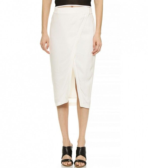 ADDISON Repetti Asymmetrical Wrap Skirt // Envelope Asymmetrical Wrap Skirt in Milk