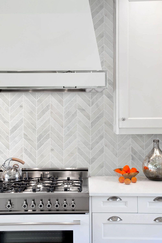 White Modern Marble Chevron Backsplash Tile Backsplash Com In