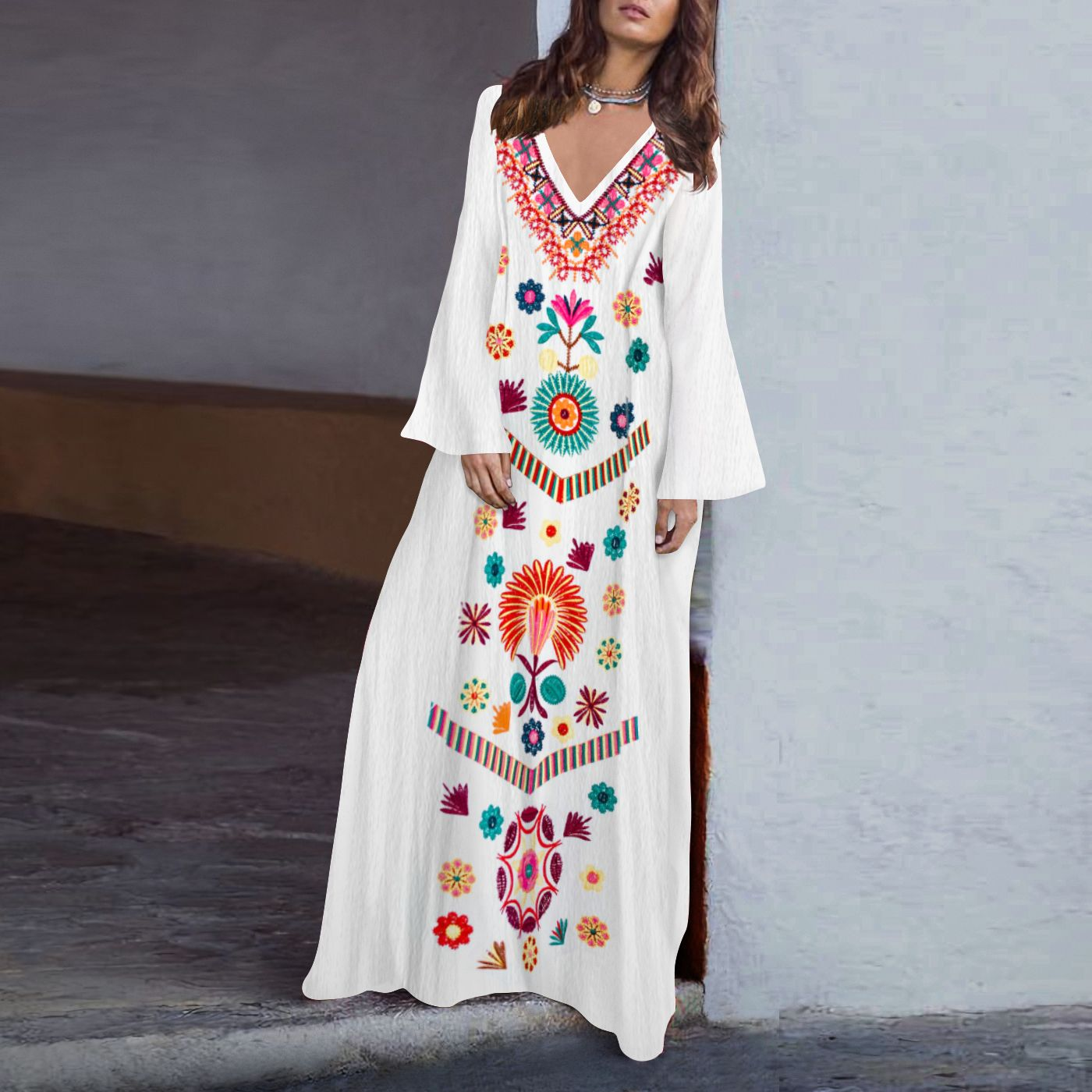 3adee4731a7 Cotton Linen V-Neck Printed Fringed Casual Maxi Dress in 2019 ...