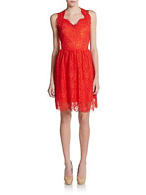 Saks Fifth Avenue RED Lace Sweetheart Dress | Dresses
