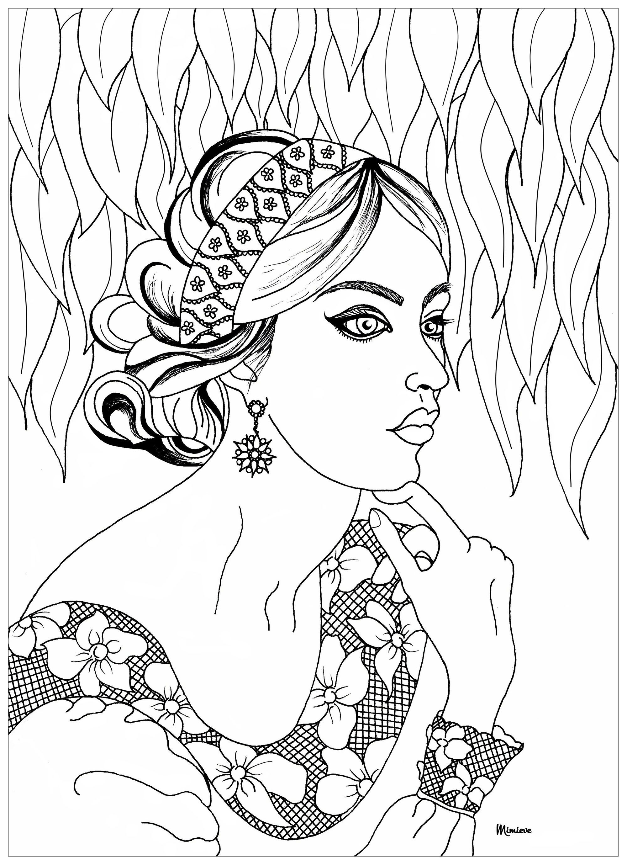 Lace Woman Lace Woman From The Gallery Zen Anti Stress Artist Mimieve Keywords Woma Stress Coloring Book Anti Stress Coloring Book Coloring Pages