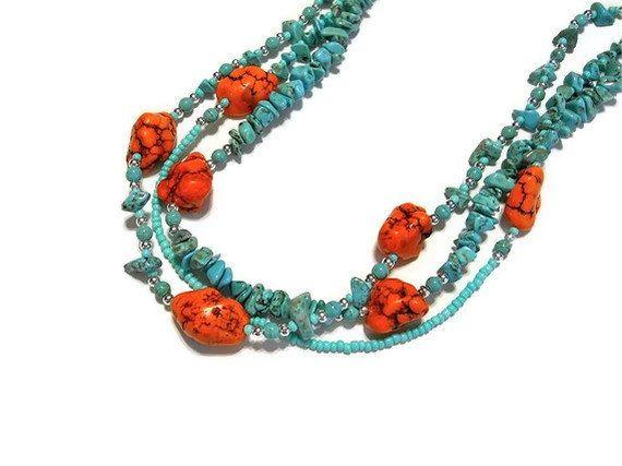Southwestern Aqua and Orange Turquoise Boho Twistable Necklace. $40.00, via Etsy.