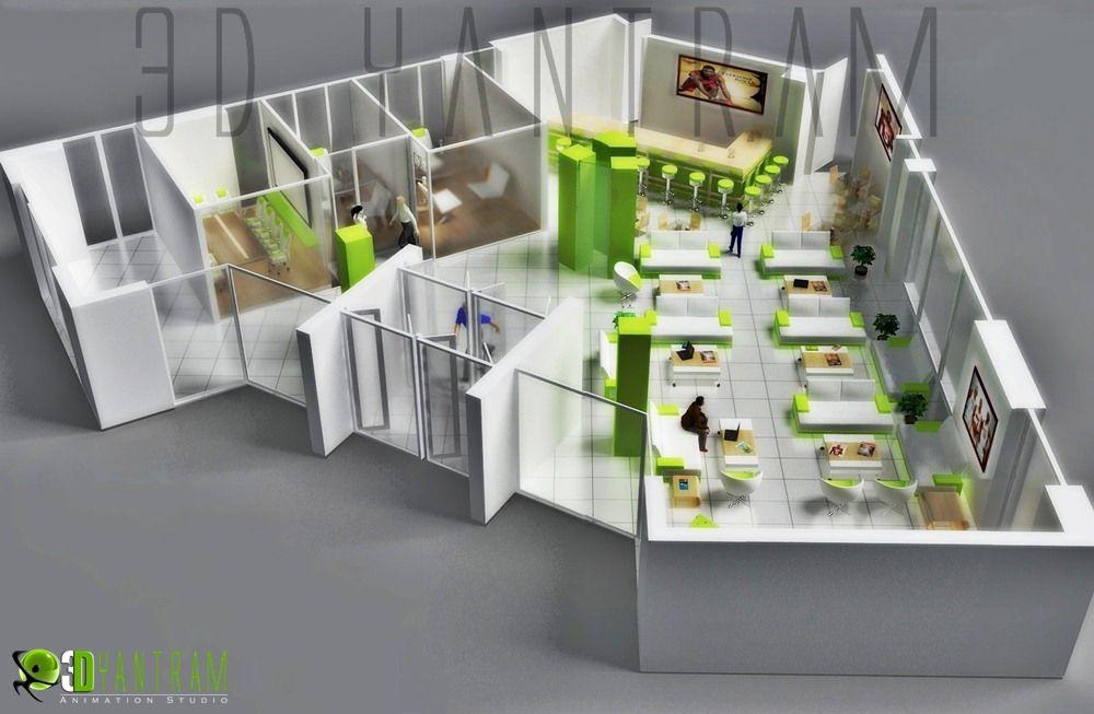 Commercial 3d modern office floor plan floorplans for Modern office plan