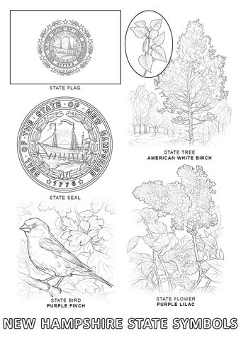 New Hampshire State Symbols Coloring Page State Symbols