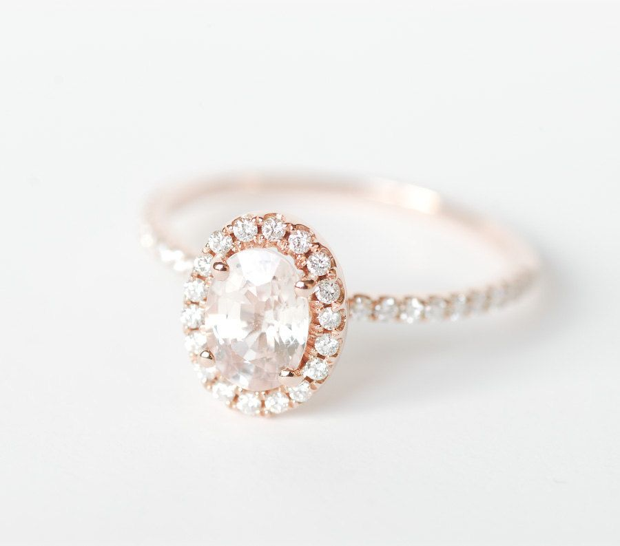 Peach Pink Champagne Oval Sapphire Diamond Halo Engagement Ring 14K Rose Gold
