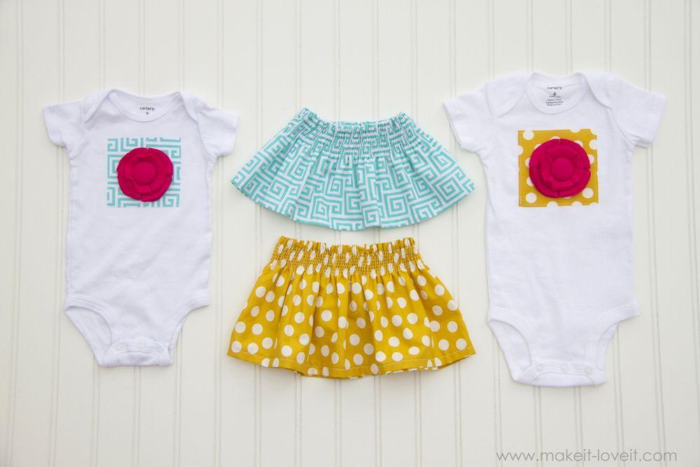 Fabric Flower Onesie & a Shirred Baby Skirt   Baby skirt, Fabric ...