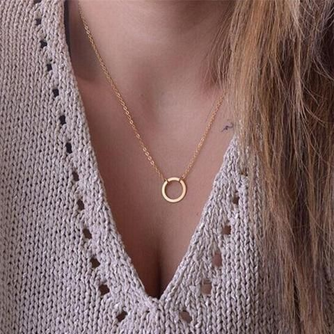 Circle Pendant Clavicle Trendy Necklaces