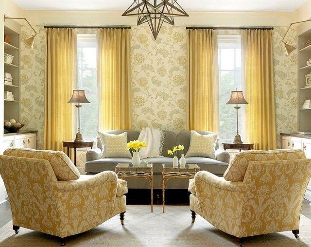 Wohnzimmer Farben Gelb Passt Mit Hellgrau Tapeten Blumenmuster