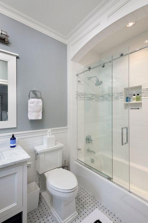 Sliding Shower Doors Transitional Bathroom Blue Water Home Builders Bathroom Tub Shower Combo Bathroom Tub Shower Bathroom Remodel Shower