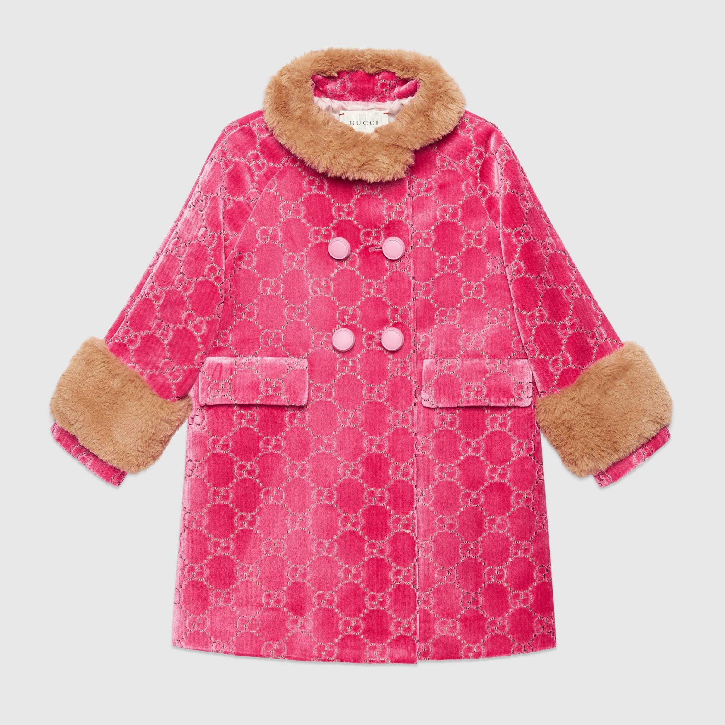 Children S Gg Velvet Coat In Pink Gg Velvet Gucci Girls Outerwear Jackets Luxury Baby Fashion Clothes Designer Baby Clothes [ 2400 x 2400 Pixel ]