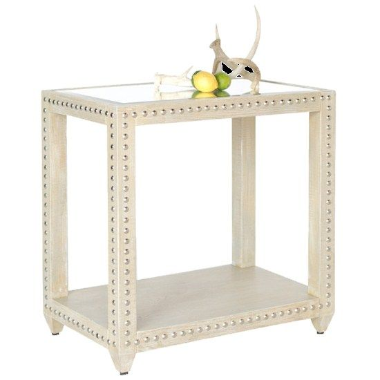 Worlds Away Olivia Round Limed Oak Studded Side Table
