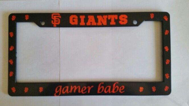 Sparkly Orange Gamer Babe License Plate Frame Gamer Babe