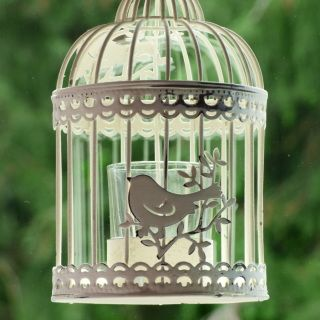 Metal distressed cream pavilion birdcage.Hang this distressed cream pavilion birdcage lantern at your wedding venue to provide a shabby chic effect. Add a candle to the glass holder to mood light your wedding. Alternatively fill with pretty flowers.