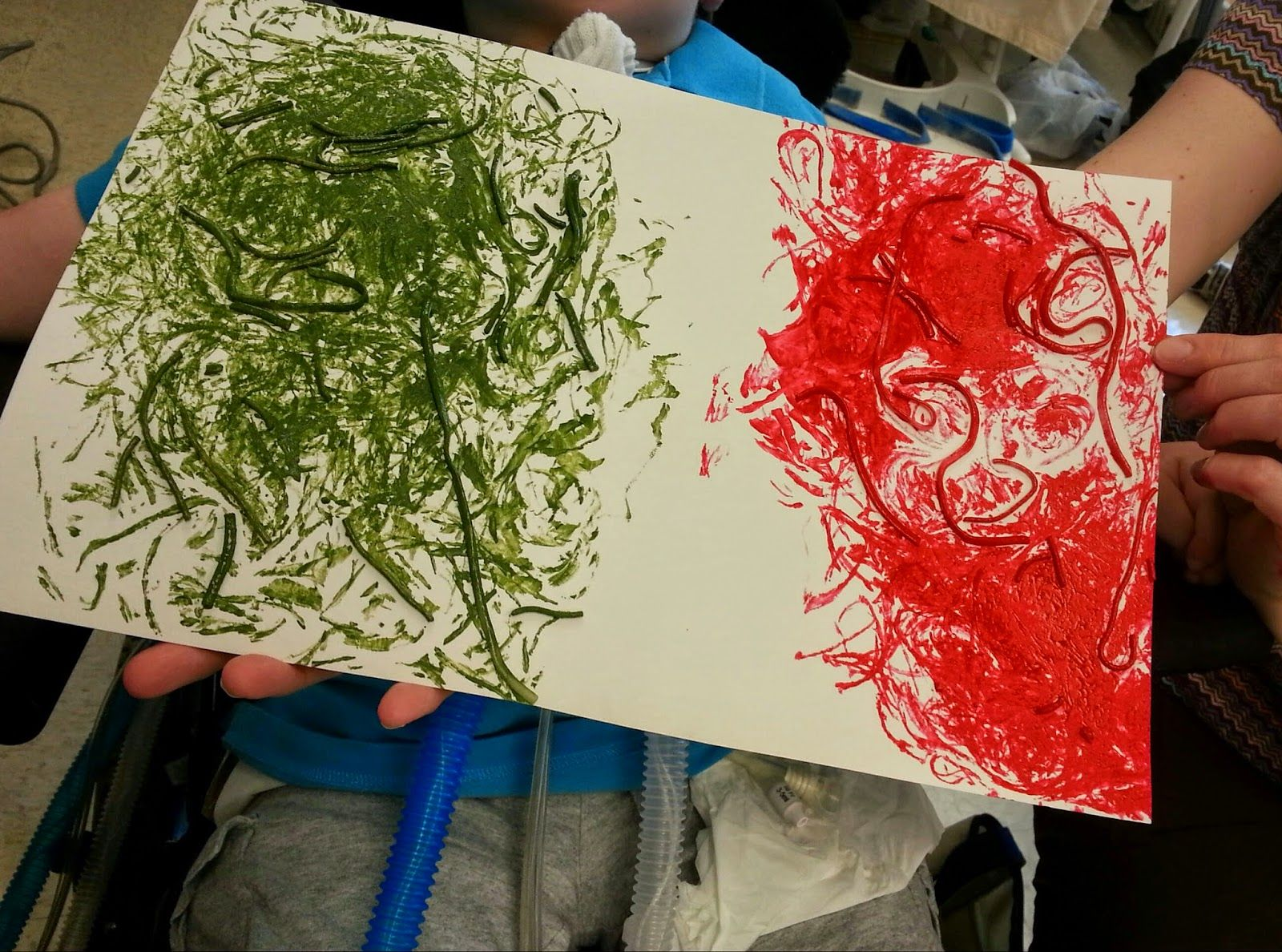 Special Classroom Spaghetti Textured Painting