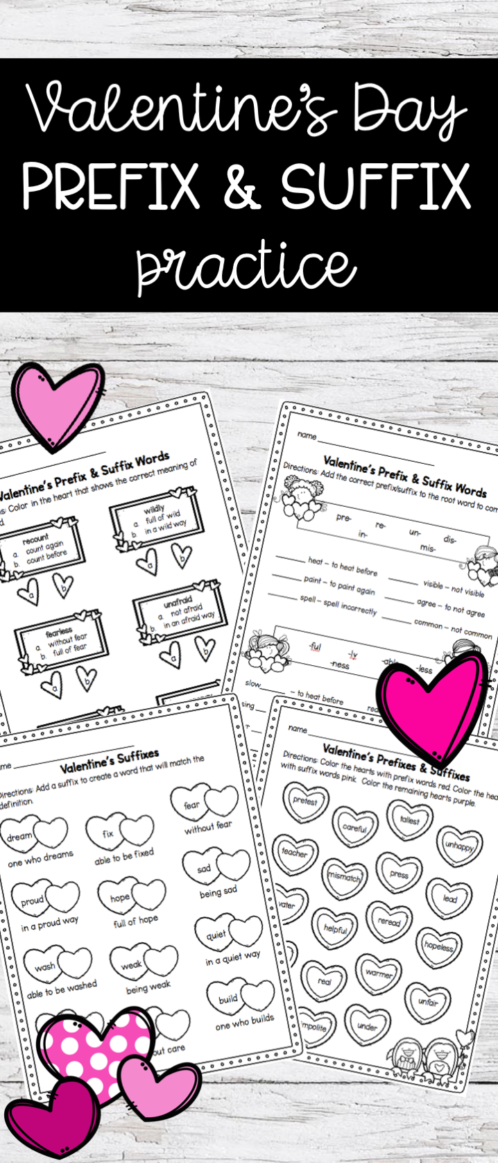 Valentine S Themed Prefix And Suffix Worksheets For February Skill Review Extra Practice Sub Plans Homework Prefixes Holiday Lessons Prefixes And Suffixes [ 1675 x 718 Pixel ]