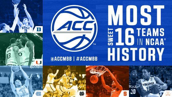 ACC Men's Basketball (@accmbb) | ACC Men's Basketball @accmbb  Mar 20 How sweet it is! A record-breaking SIX #ACCMBB teams are now in the #Sweet16! #MarchMadness