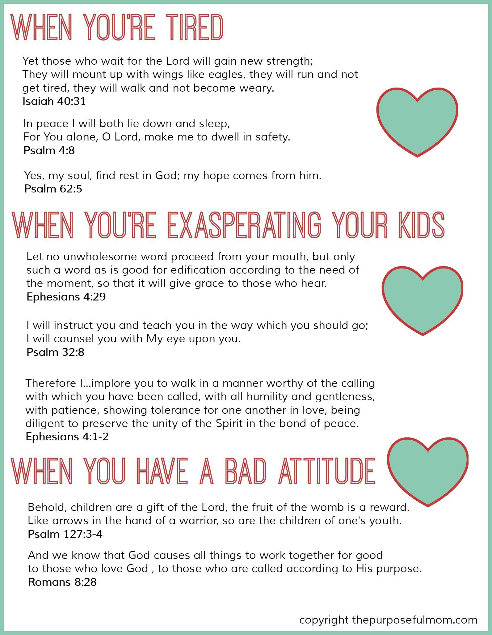 8 Scripture Verses For Struggling Moms Free Printable