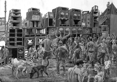 Illegal Rave | Techno festival, Dj art, Sound system