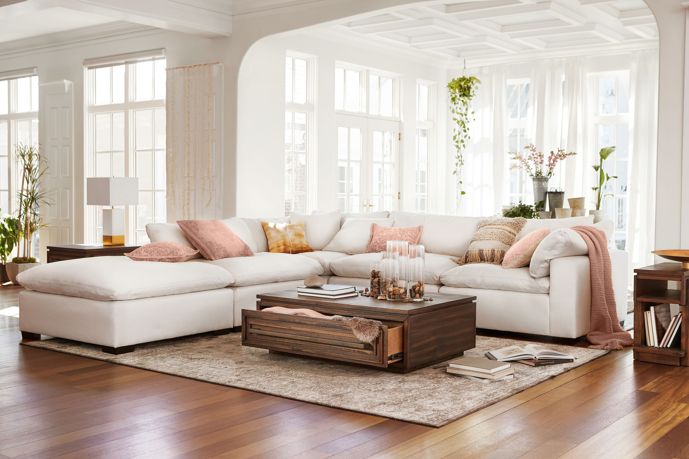 Plush 4 Piece Sectional And Ottoman Ivory In 2020 Sectional Living Room Layout White Furniture Living Room Ottoman In Living Room #ottoman #seating #living #room