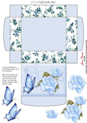 """Gift Cake Box Blue Roses on Craftsuprint designed by June Young - This gift/cake box is approx. 4"""" x 3"""" when made up and has floral side panels and a decorat3ed lid. It is very simple to assemble and there is decoupage provided for the flower and butterfly decoration on the lid. - Now available for download!"""