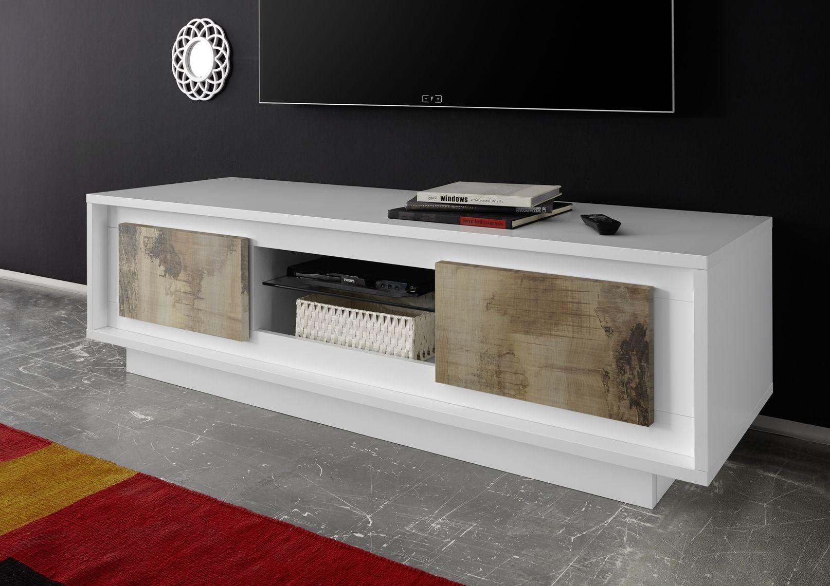 Mobile Porta Tv Bianco Opaco Con Ante Effetto Legno Antico L 160  # Hcommehome Meuble Tv