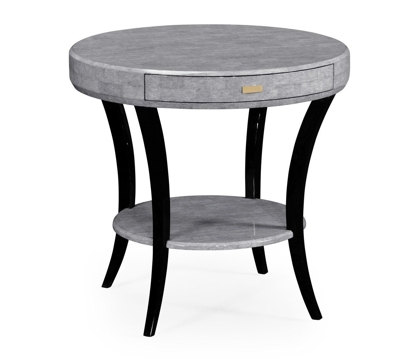 Jonathan Charles White Smoke Eggshell Inlay Round Side Table With Drawer 494000 Ec001 Round Side Table End Tables With Storage Side Table With Drawer