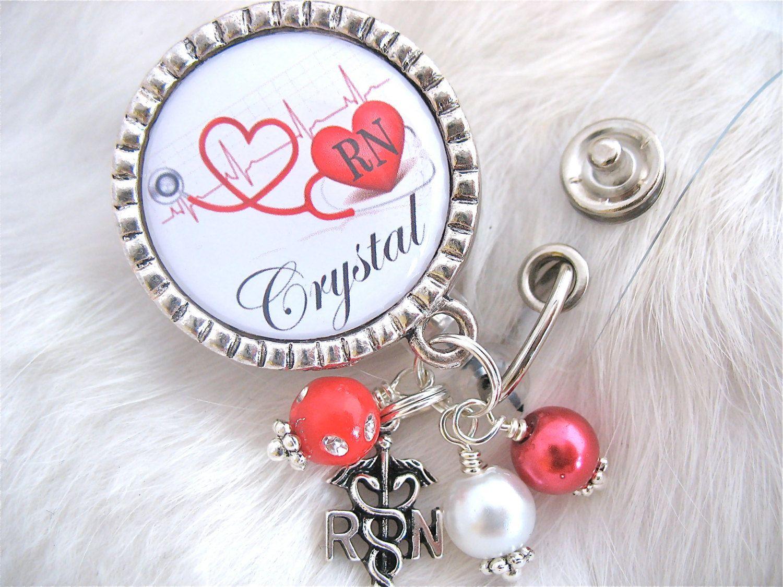Personalized Id Badge Reel Rn Np Lmt Nicu Bsn Cardiac