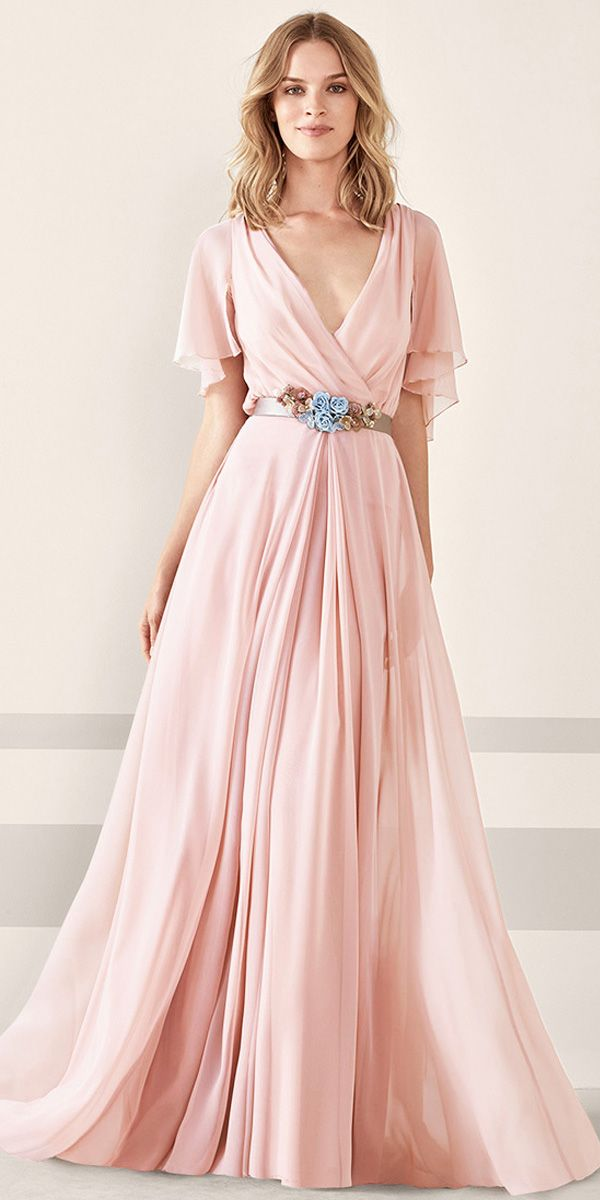 Excellent Silk-like Chiffon V-neck Neckline Bell Sleeves A-line Prom ...