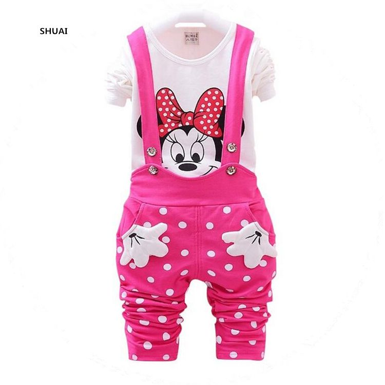 bb9efcbf0a2 Vestidos Brand New 2016 Spring Children s Sets Minnie T-shirt   Polka Dot  Overalls Girl Clothing Suits Kids Fall Bebes Clothes