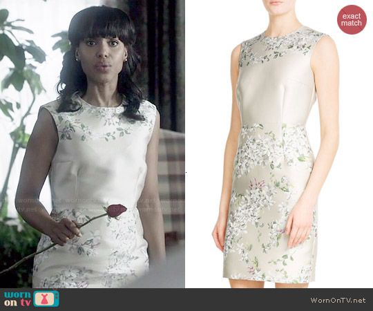 Olivia's champagne floral dress on Scandal.  Outfit Details: https://wornontv.net/47299/ #Scandal