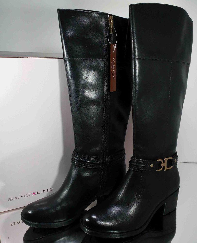 2aea629408a Bandolino Women's Tall Zippered Black Boots Size 7-1/2M Wide Calf w ...