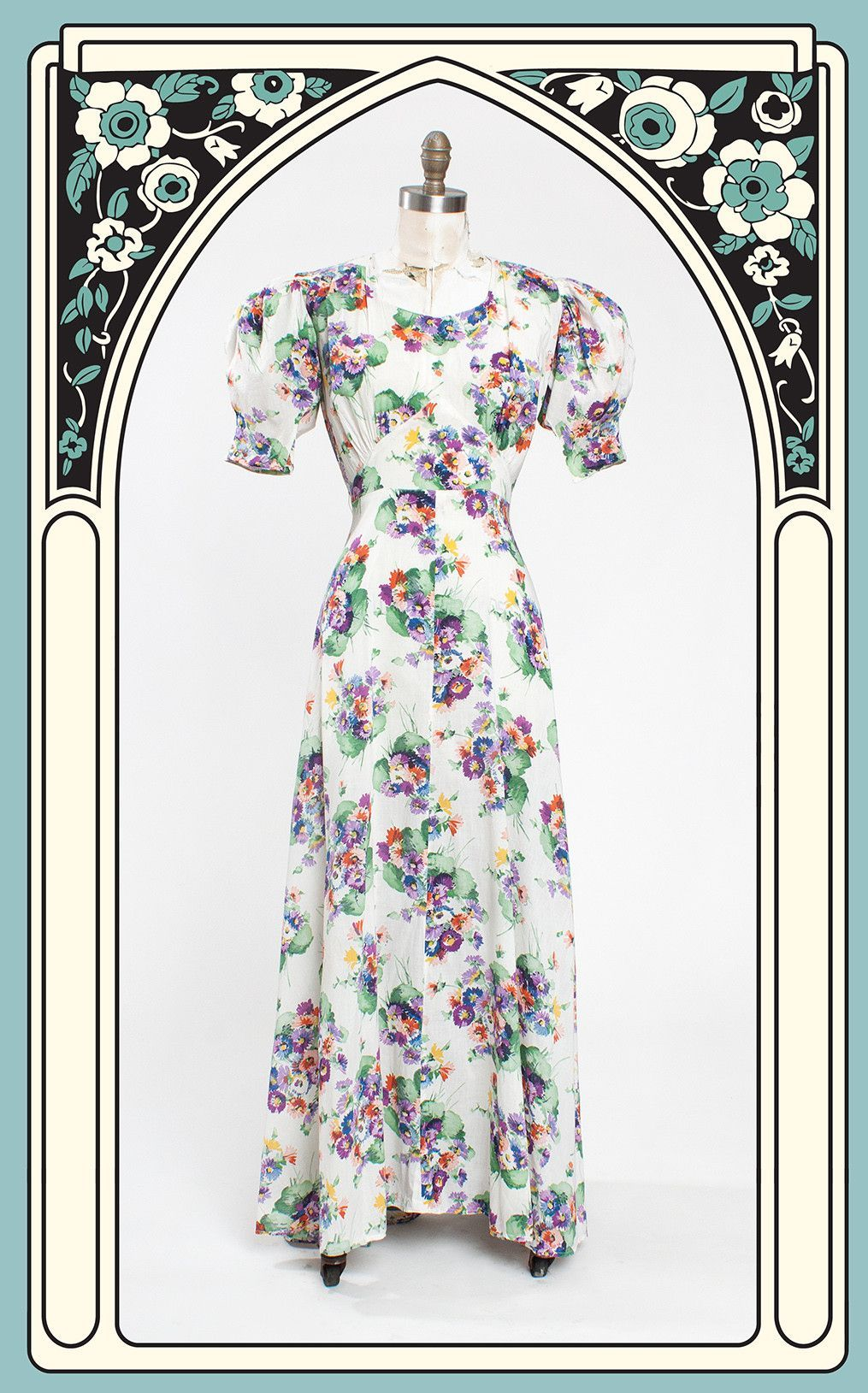 1930s Vibrant Floral Cotton Garden Party Dress