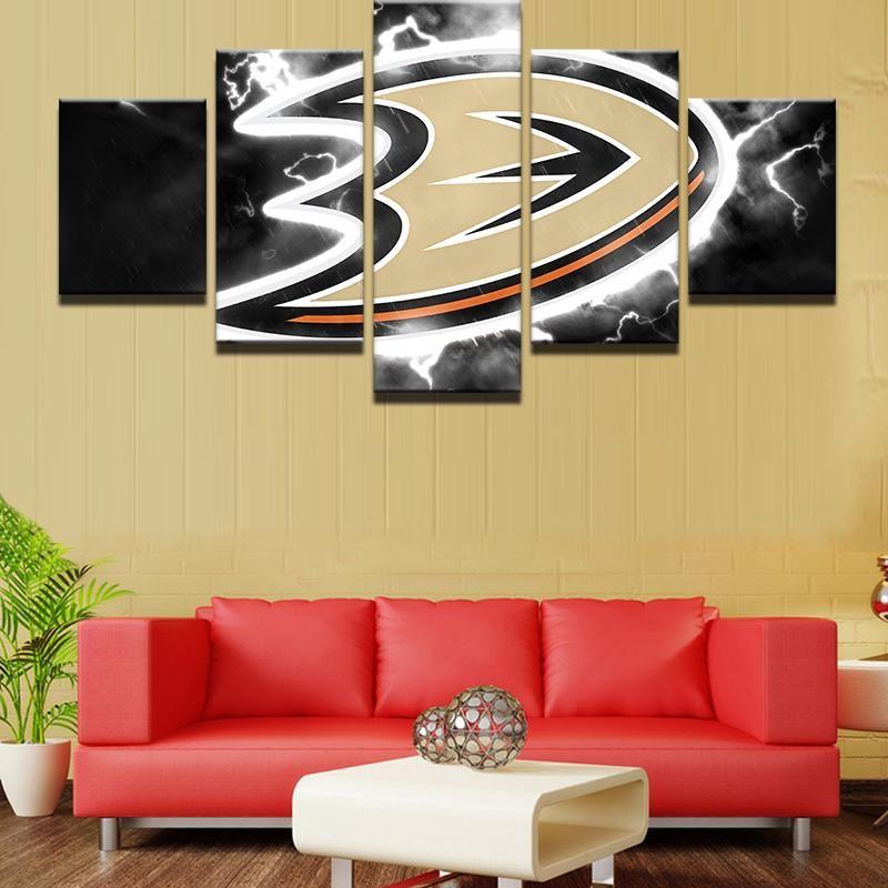 Anaheim Ducks NHL Hockey 5 Panel Canvas Wall Art Home Decor | Wall ...