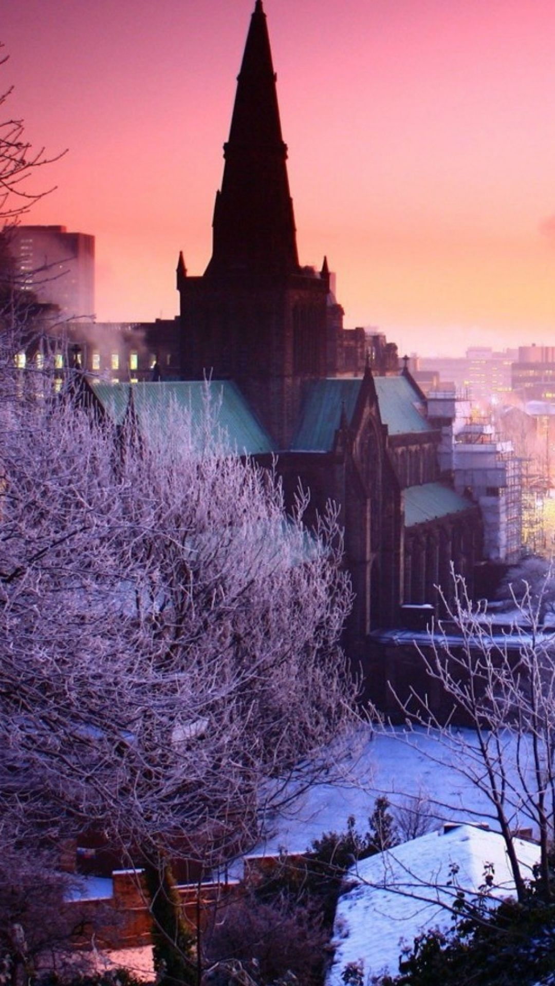 city, night, winter, sky, trees