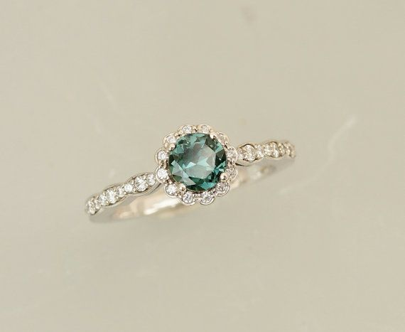 Blue Green Shire Engagement Ring In 14k White Gold Diamond Halo Flower Style Gemstone
