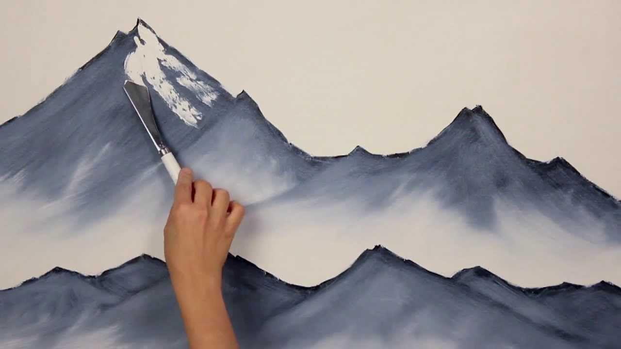 Pintar Montañas Nevadas Arte Tutoriales Pintura En Tela