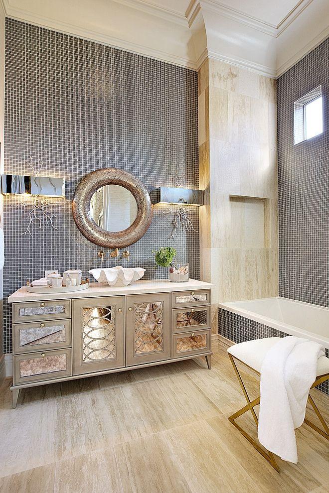 Bathrooms A L Abode: Hollywood Regency Styled Bath: Tara Dudley Interiors