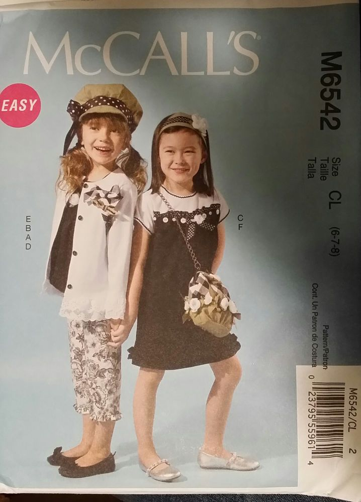 McCall's Pattern M6542 Girl's Cardian, Top, Dress, Pants, Hat, Purse sizes 6-8