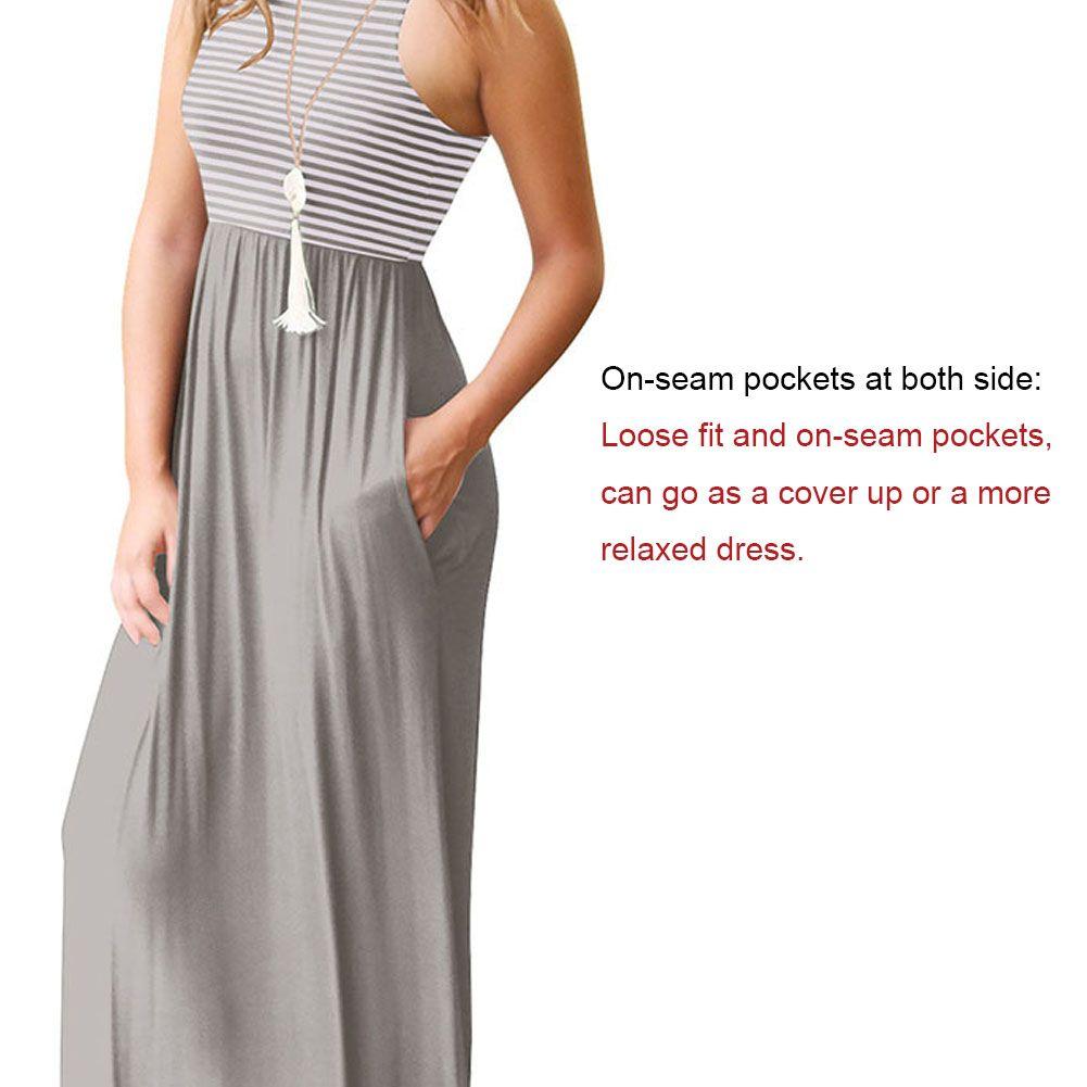 Sleeveless Loose Plain Tank Top Long Dress Beach Maxi Dresses With Pockets For Women Tank Top Long [ 1001 x 1001 Pixel ]