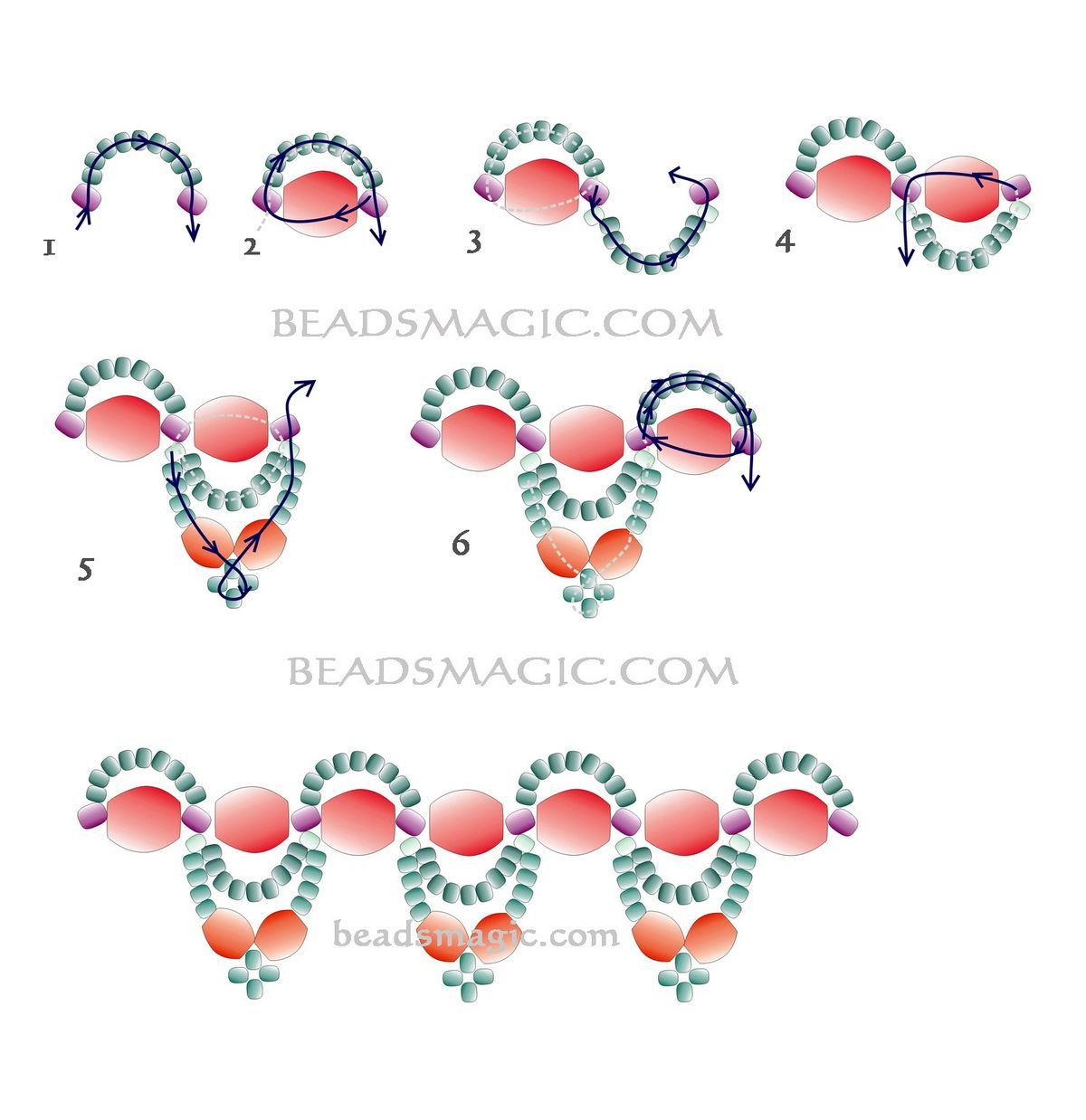 Free pattern for necklace Chantal - 2U need: faceted beads 8 mm faceted beads 6 mm seed beads 11/0 seed beads 8/0