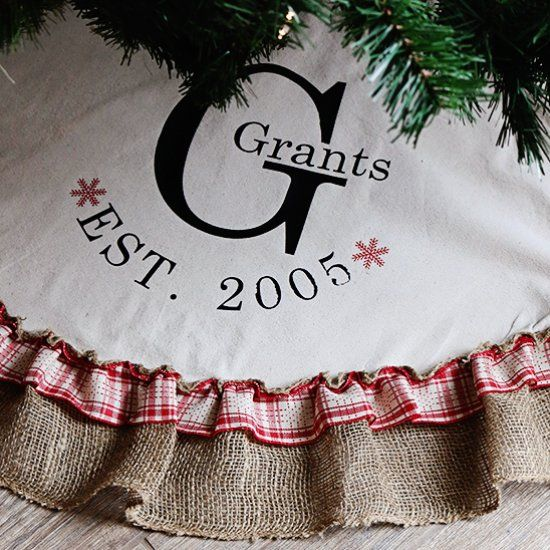 Monogrammed Drop Cloth Tree Skirt