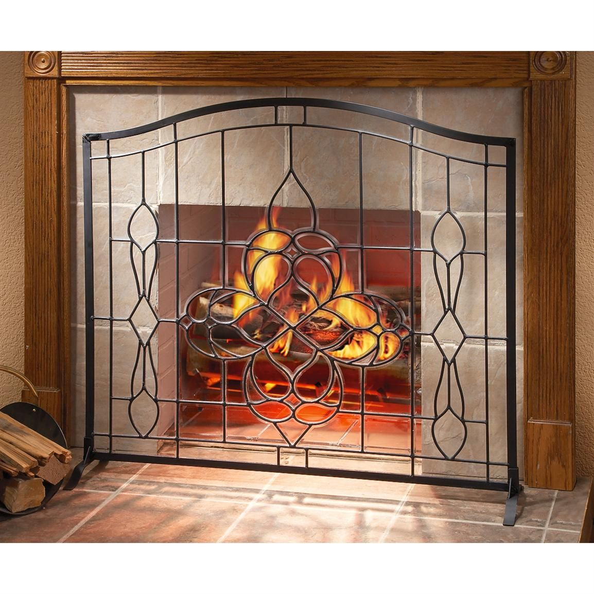 Glass fireplace screen and Screens