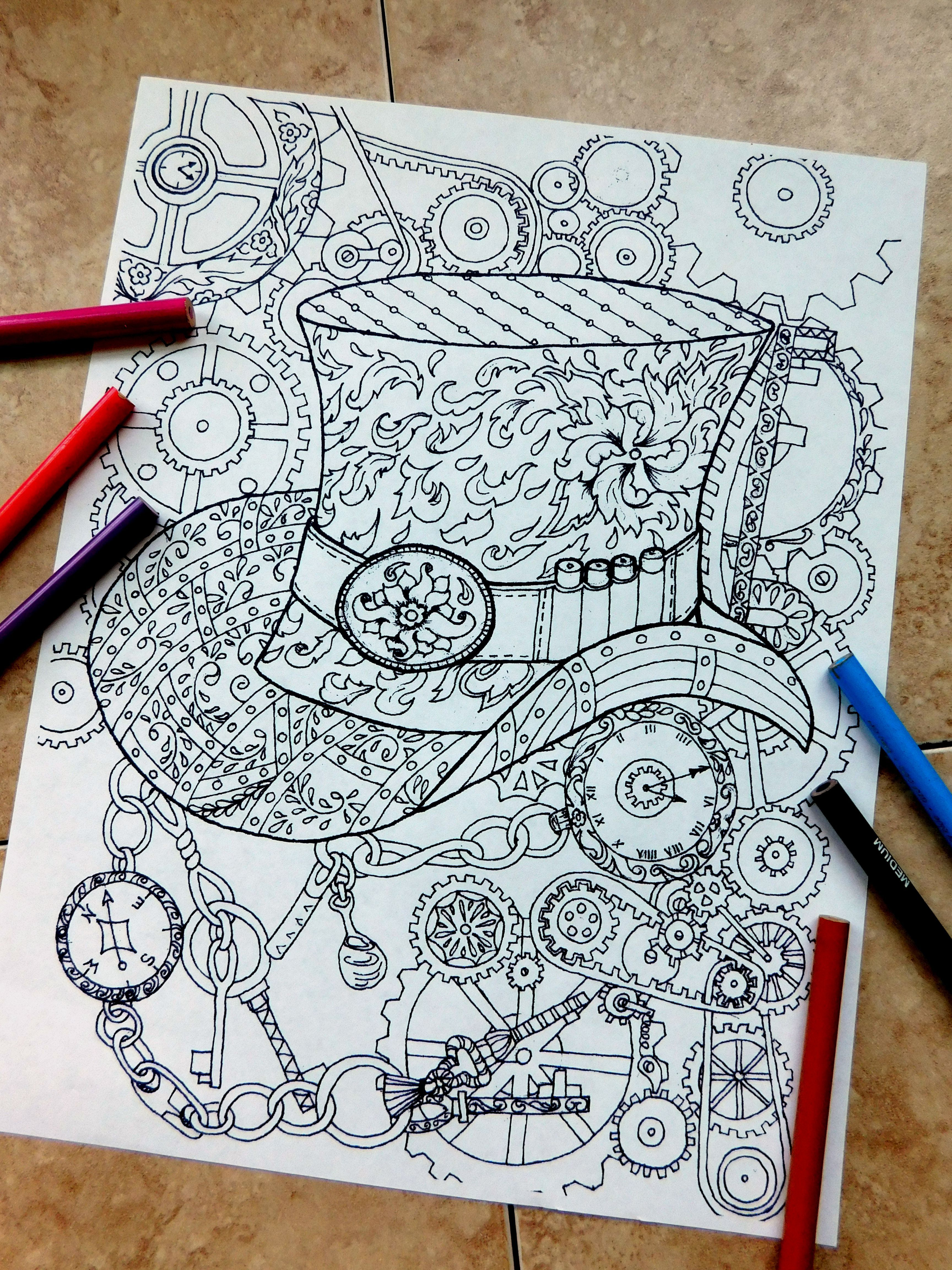 Steampunk Coloring Page Coloringpages Tophat Coloring Page