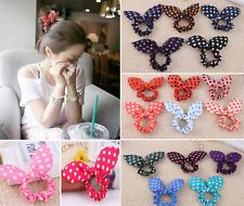 Korean Women Polka Dot Rabbit Ear Bow Hair Tie Band Headband Ponytail Bracelet