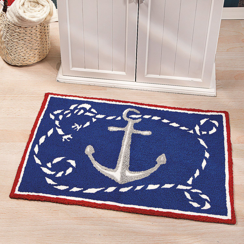 Anchor Bathroom Rug: Nautical Hooked Rug