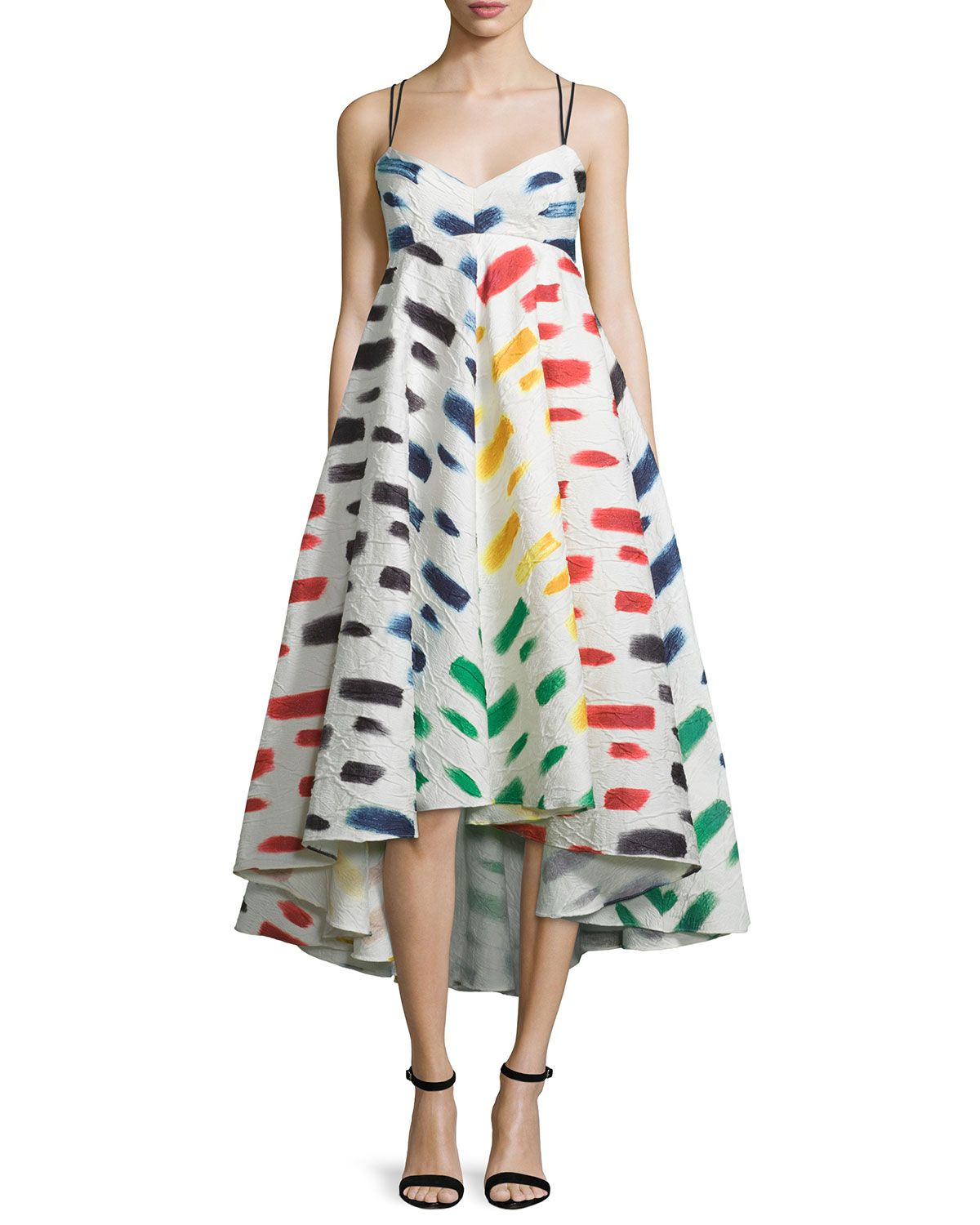 Milly Couture Brushstroke Print Trapeze Dress Trapeze Dress Dresses For Apple Shape Latest African Fashion Dresses [ 1500 x 1200 Pixel ]