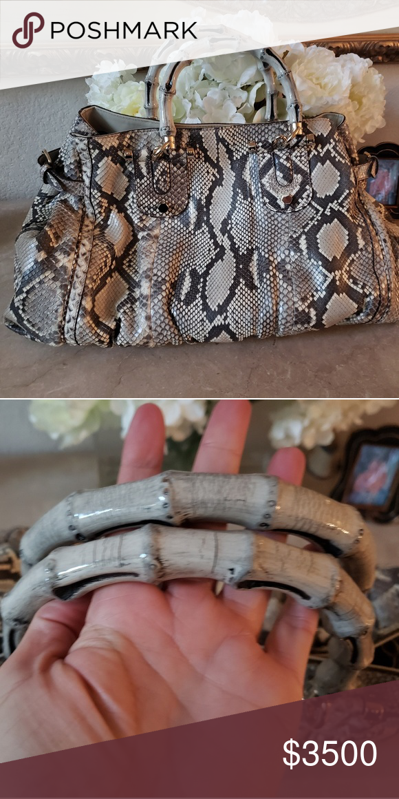 cdf7c9d73420 Gucci PYTHON handbag. Stunning! $4500 Authentic Gucci python handbag with  bamboo handle. Brand new without tags. Ultra luxurious! Gucci Bags
