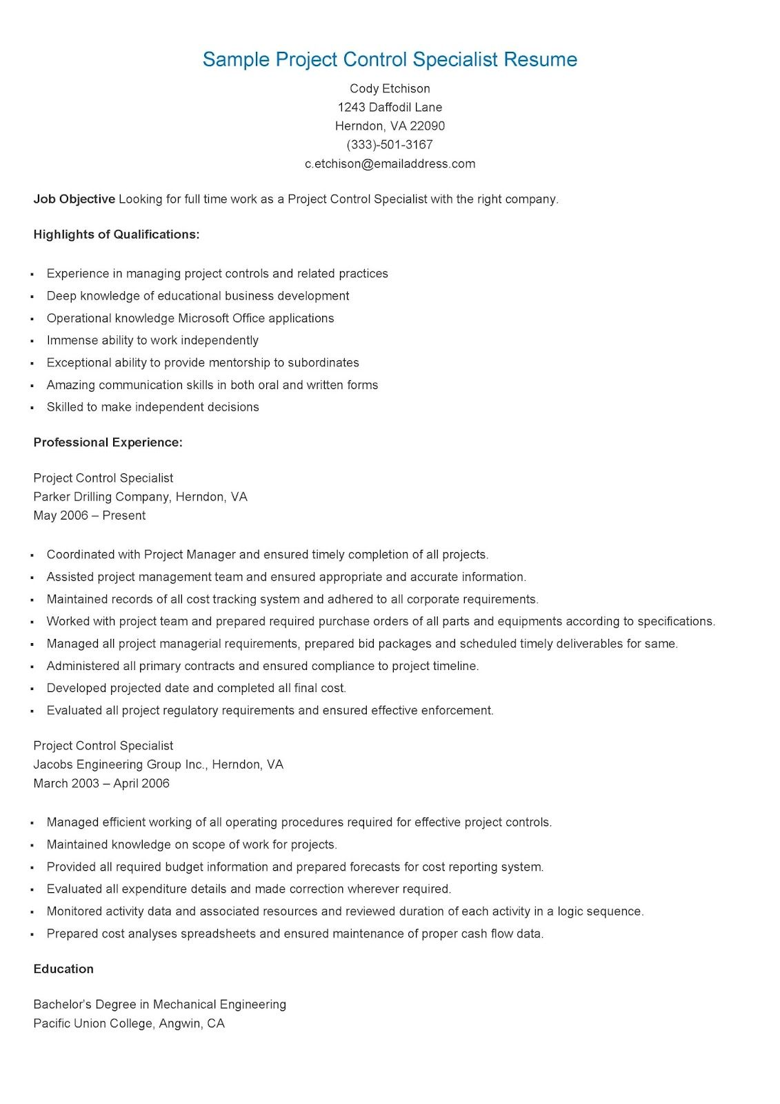 Sample Project Control Specialist Resume  Resame