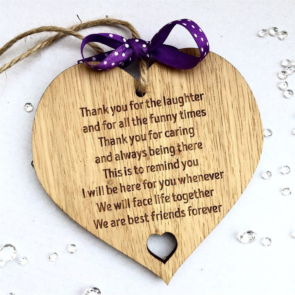 Friend / Bridesmaid Wooden Pendant. Meaningful wedding thank you ...